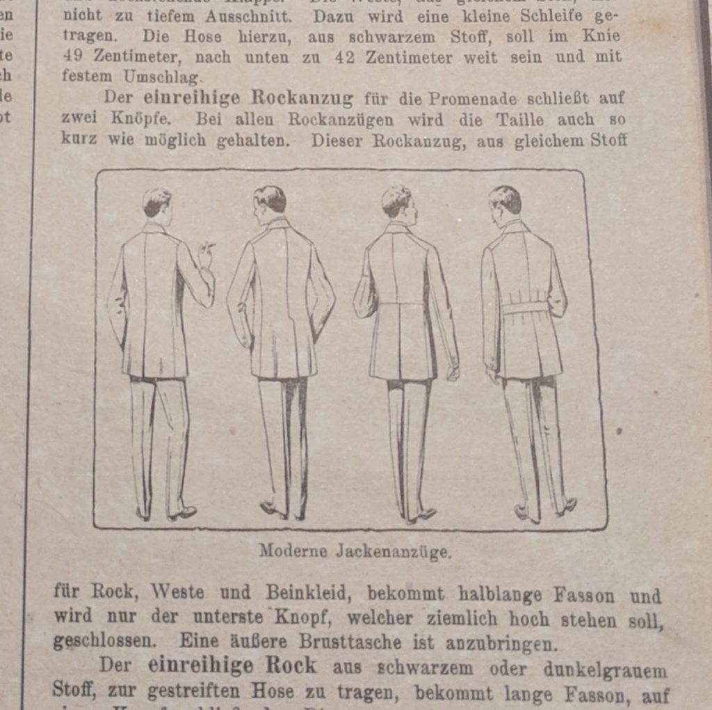 Illustration aus dem Beobachter der Herren-Moden von 1920.