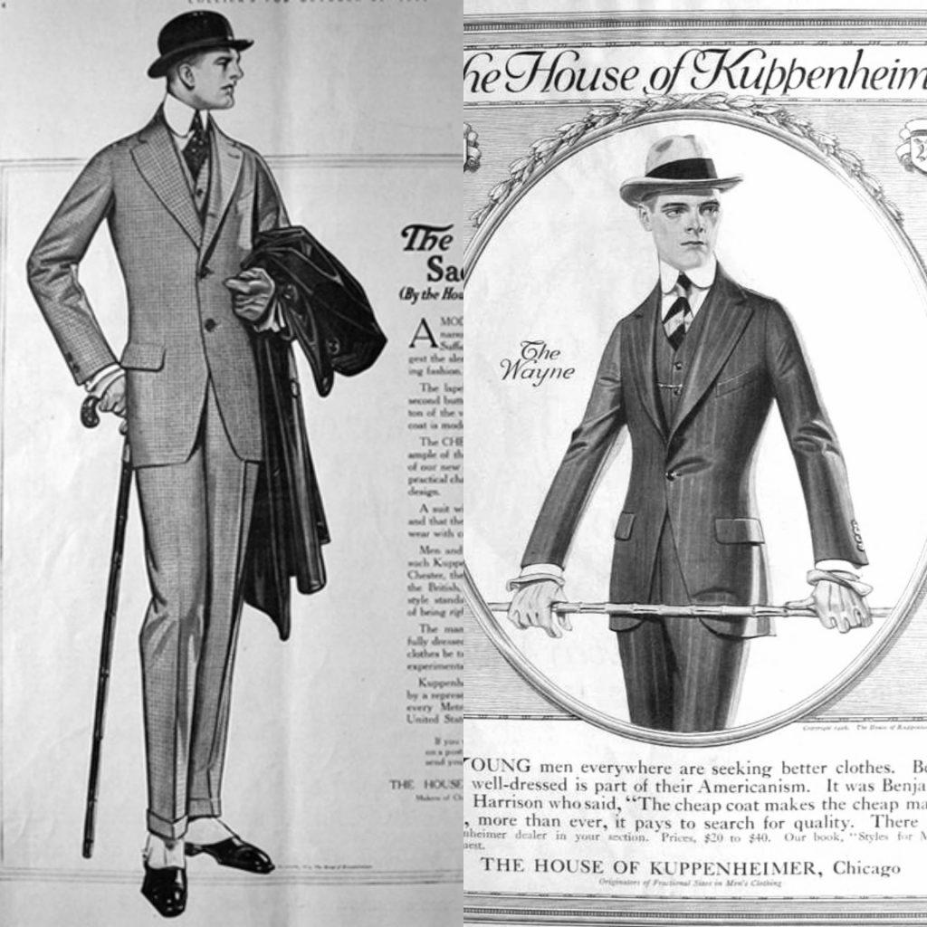 Werbeillustrationen des amerikanischen Modehauses Kuppenheimer
