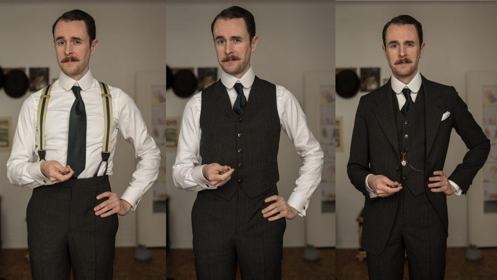 Separate Bilder zu Hochbundhose, kurzer Weste und Gesamteindruck des Dreiteilers.
