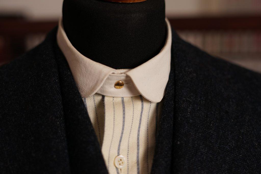Gestreiftes Flanellhemd mit abnehmbaren, kleinen Clubkragen